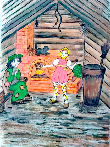 Маша разговаривает с Бабой Ягой в авторской сказке