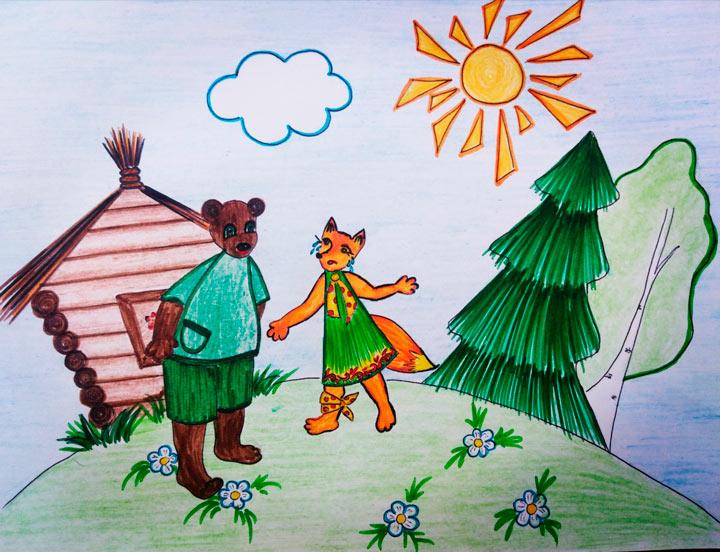 Иллюстрация к сказке: Медведь встречает Хитрую лису
