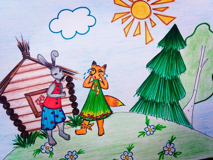 Иллюстрация к сказке: Заяц встречает Хитрую лису