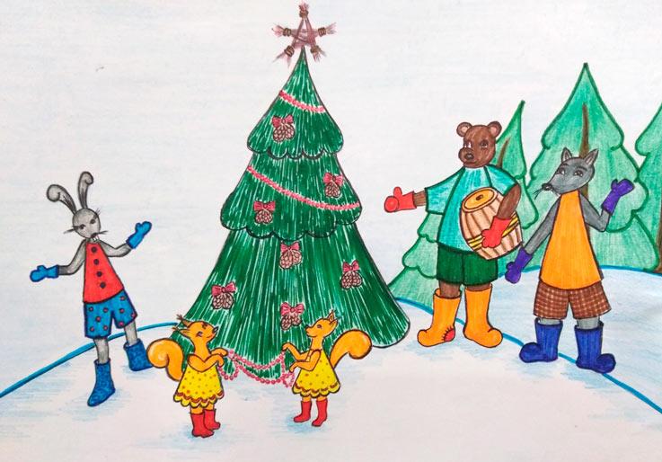 Как хитрая лиса Новогоднюю елку украсила