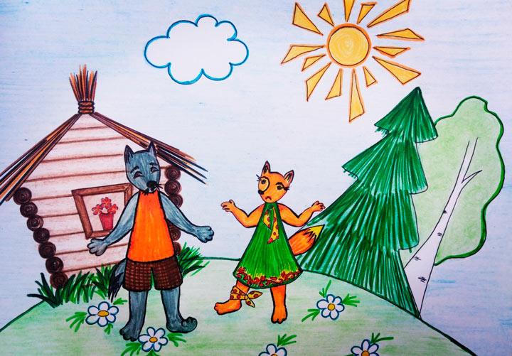 Иллюстрация к сказке: Волк встречает Хитрую лису