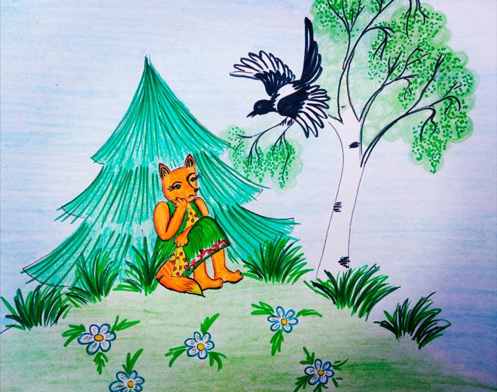 Иллюстрация к сказке: Сорока смеется над Хитрой лисой